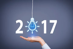 New Year 2017 Idea Concepts on Visual Screen. Working Royalty Free Stock Image
