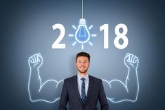 New Year 2018 Idea Concepts on Visual Screen Royalty Free Stock Image