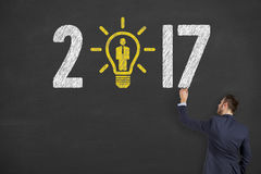 New Year 2017 Idea Recruitment Concepts on Chalkboard Background Stock Image