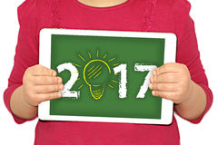 2017 - new year Idea. On the tablet Royalty Free Stock Photos