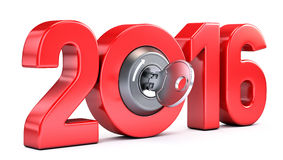 New Year 2016 with ignition key. On white background Royalty Free Stock Image