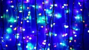 New Year illumination garland decoration blinking stock video footage