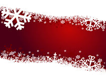 New year illustration. Red new year illustration with snowflakes Stock Photo
