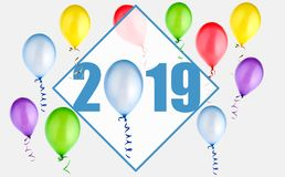 2019 new year illustration with balloons royalty free stock photo
