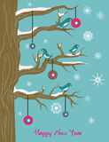 New Year illustration with birds and ball. New Year  winter  illustration with birds on a tree and ball Royalty Free Stock Photo