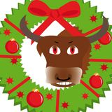 New year illustration with bull. And wreath Stock Images