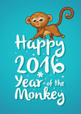 New Year illustration with cartoon monkey - symbol of 2016 year. Happy New year card with funny cartoon monkey in vector Royalty Free Stock Photo