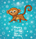 New Year illustration with cartoon monkey-symbol of 2016 year. Happy New year card with funny cartoon monkey in vector stock illustration