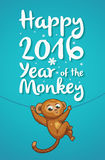 New Year illustration with cartoon monkey-symbol of 2016 year. Happy New year card with funny cartoon monkey in vector Stock Photos