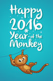 New Year illustration with cartoon monkey-symbol of 2016 year. Happy New year card with funny cartoon monkey in vector vector illustration
