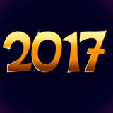 2017 new year. Illustration cartoon vector number 2017 new year shine gold yellow color with sparkles isolated on dark blue violet background, vector eps 10 Royalty Free Stock Photo