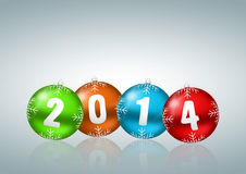 New year 2014 illustration. With christmas balls royalty free illustration