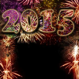 New year 2015. Illustration of a colorful new year background with firework and number 2015 Stock Photos