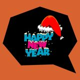 New Year illustration design. Color& x22;HAPPY NEW YEAR& x22; text with Santa Claus red cap and snowflakes design around on dark black polygone shape.This all royalty free illustration