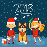 2018 new Year illustration. Dog, boy and girls on dark-blue background. the Fun characters in the New Year, Christmas Stock Photo