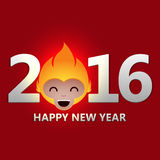 New Year illustration. Happy New Year 2016 Fire Monkey. Vector illustration. Chinese new year royalty free illustration