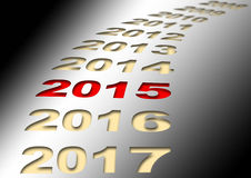 New year 2015. Illustration of new year 2015 in line of many years Royalty Free Stock Photos