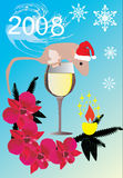 New year illustration with rat Royalty Free Stock Photography