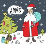 New Year illustration - Santa with a gift near Christmas tree with hand drawn lettering. Cute and fun vector illustration vector illustration