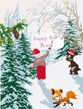 New year illustration with snow forest Royalty Free Stock Image