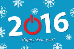 New 2016 year illustration. Text 2016, with power symbol, and congratulation on blue background with snowflakes Royalty Free Stock Photography