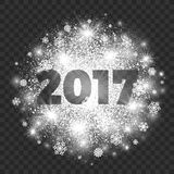 New Year Illustration on Transparent Background Vector. 2017 Year Illustration on Transparent Background Vector. Abstract bright white shimmer glowing scatter Royalty Free Stock Image