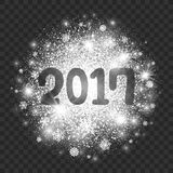 New Year Illustration on Transparent Background Vector. 2017 Year Illustration on Transparent Background Vector. Abstract bright white shimmer glowing scatter Royalty Free Stock Images