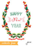 New Year illustration. Vector hand drawn New Year illustration with short wish Stock Photos