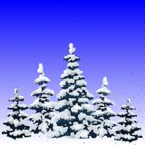 New year illustration, winter forest of pine covered with snow,. Cartoon on white background Royalty Free Stock Photography