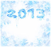 2013 New Year. Image of New Year festive frostwork, abstract holiday background, beautiful blue digits on white background, 2013 numbers on frosty snowflake Royalty Free Stock Photography