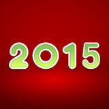 2015 New Year image on red background with white. And green figur Royalty Free Stock Photos