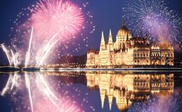New Year In The City - Budapest Parliament With Fireworks Royalty Free Stock Photos