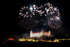 New Year and Independence day celebration in Bratislava, Slovaki Royalty Free Stock Photography