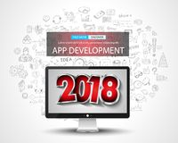 2018 New Year Infographic and Business Plan Background with hand Stock Photo