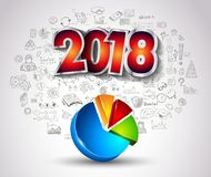 2018 New Year Infographic and Business Plan Background with hand Royalty Free Stock Photography