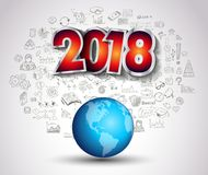 2018 New Year Infographic and Business Plan Background with hand Stock Image