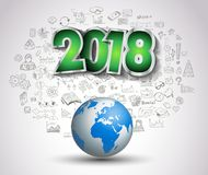 2018 New Year Infographic and Business Plan Background. With hand drawn sketch graphics Stock Photos