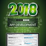 2018 New Year Infographic and Business Plan Background. With hand drawn sketch graphics Stock Image