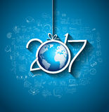 2017 New Year Infographic and Business Plan Background for your Flyers. And Greetings Card with Hand Crawn Business and infographic sketches Stock Photos