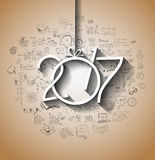 2017 New Year Infographic and Business Plan Background for your Flyers. And Greetings Card with Hand Crawn Business and infographic sketches Royalty Free Stock Images