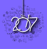 2017 New Year Infographic and Business Plan Background for your Flyers. And Greetings Card with Hand Crawn Business and infographic sketches Stock Image