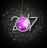 2017 New Year Infographic and Business Plan Background for your Flyers. And Greetings Card with Hand Crawn Business and infographic sketches Stock Photo