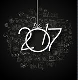 2017 New Year Infographic and Business Plan Background for your Flyers. And Greetings Card with Hand Crawn Business and infographic sketches Stock Images