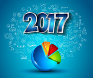 2017 New Year Infographic and Business Plan Background for your Flyers. And Greetings Card with Hand Crawn Business and infographic sketches Royalty Free Stock Photo