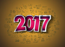2017 New Year Infographic and Business Plan Background for your Flyers. And Greetings Card with Hand Crawn Business and infographic sketches Stock Photography