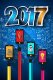 2017 New Year Infographic and Business Plan Background. For your Flyers and Hand Drawn Business and infographic sketches Royalty Free Stock Image