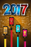 2017 New Year Infographic and Business Plan Background. For your Flyers and Hand Drawn Business and infographic sketches Royalty Free Stock Photos
