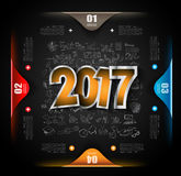 2017 New Year Infographic and Business Plan Background. For your Flyers and Hand Drawn Business and infographic sketches Stock Photography
