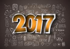 2017 New Year Infographic and Business Plan Background. For your Flyers and Hand Drawn Business and infographic sketches Royalty Free Stock Photo