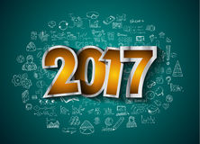 2017 New Year Infographic and Business Plan Background for your Flyers. And Hand Drawn Business and infographic sketches Royalty Free Stock Image